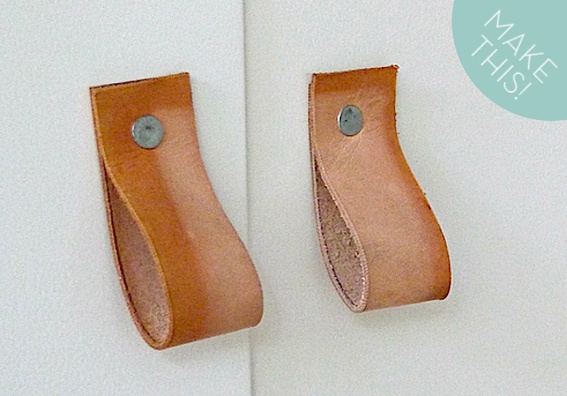 DIY Leather Strap Cabinet Pulls-Clever Kitchen Tutorial