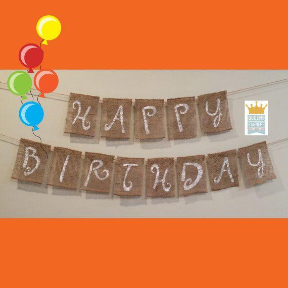 Happy Birthday Burlap Banner Happy Birthday Decor by QueensBanners