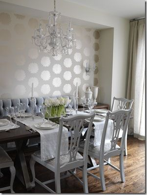 Formal Dining Elegant Wallpaper And Bench Seating Banquette SeatingDining Room