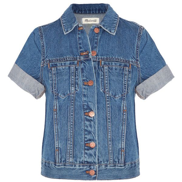 Madewell The Summer Jean denim jacket found on Polyvore featuring outerwear, jackets, tops, coats & jackets, denim, mid denim, blue jean jacket, slim denim jacket, short sleeve jean jacket and madewell