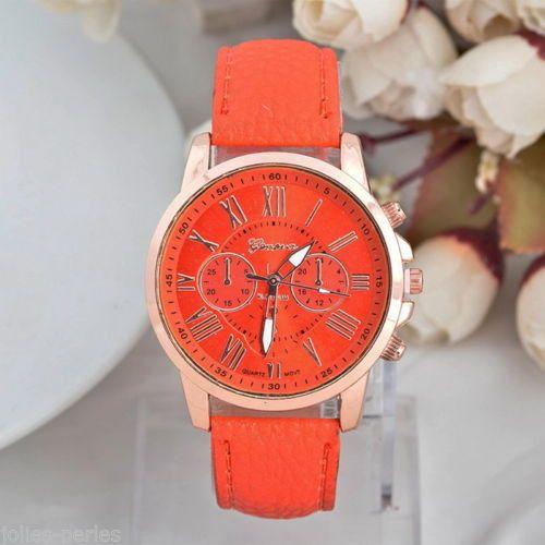 JP 1PC Leather Quartz Three Eyes DIY Bracelet Watch For Women Orange