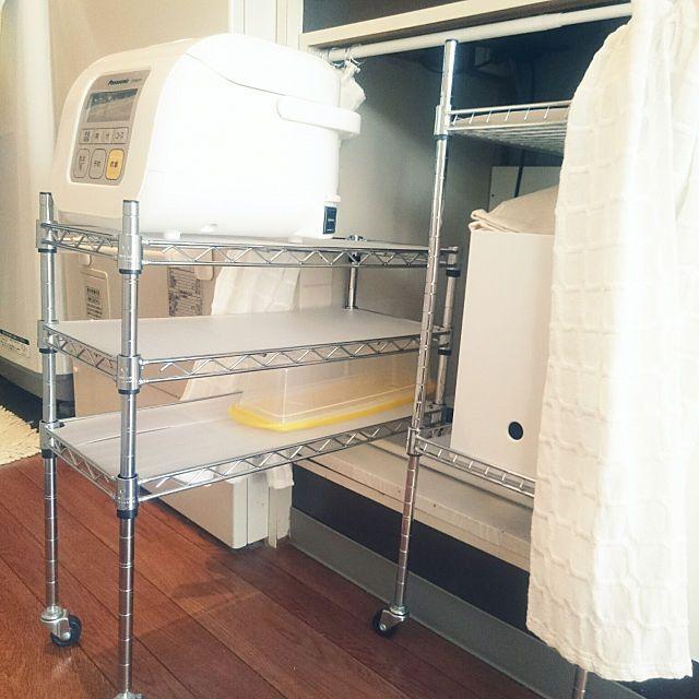 炊飯器やレンジはどこに置く キッチン家電の置き方実例 キッチン 収納棚 造作 インテリア 調理器具 収納