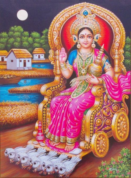 Kamala Lakshmi on Owl Chariot (via ebay: Indian_ash)