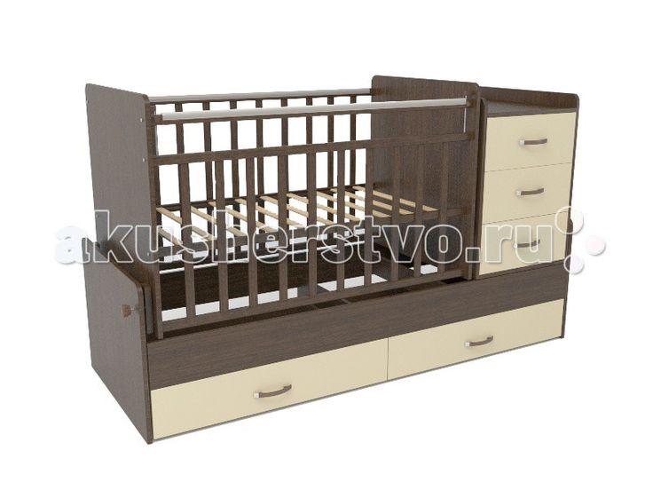 Кроватка-трансформер СКВ Компани СКВ-5 54403 поперечный маятник  Кровать детская СКВ-5 54403 поперечный маятник это кровать-трансформер с поперечным маятниковым механизмом. подходит для детей с рождения до 10 лет кроватка с комодом трансформируется в подростковую кровать. Комод можно установить как с правой, так и с левой стороны. Два нижних выдвижных ящика на направляющих. Такая конструкция удобна тем, что не взаимодействует с покрытием пола, а перегородка между ящиками придает кроватке…