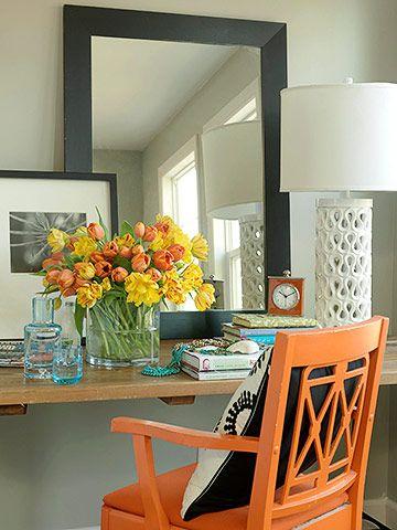 chair is so hermes orange. love it.Sewing Room, Decor, Offices Desks, Office Desks, Desks Chairs, Guest Bedrooms, Orange Chairs, Bedrooms Ideas, Bedroom Ideas