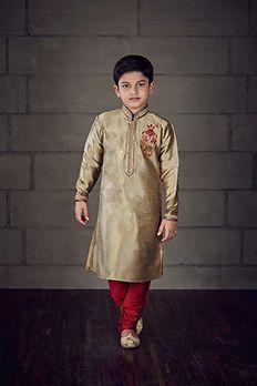 Banarasi silk kurta churidar highlighted with zari work by #Benzer #Benzerworld #KurtaForBoys #KidsWear