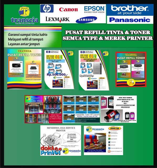 refill tinta & toner printer inkjet laserjet Canon,Hp,Epson,Brather,Samsung,Panasonik,Xerox: REFILL TONER SEMUA TYPE & MEREK PRINTER