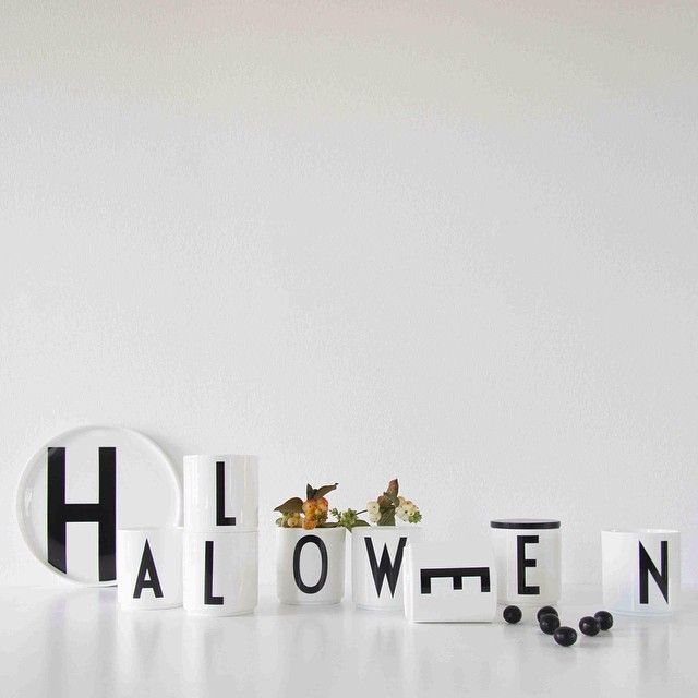 Halloween! Written with porcelain cups featuring AJ Vintage ABC.