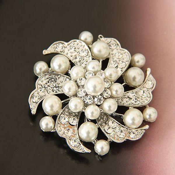Pearl Crystal Silver Brooch