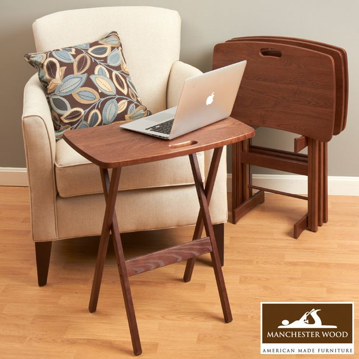 Portable Folding Tray Table Desk Set Of 4 By Manchester Wood Traditional  Desks