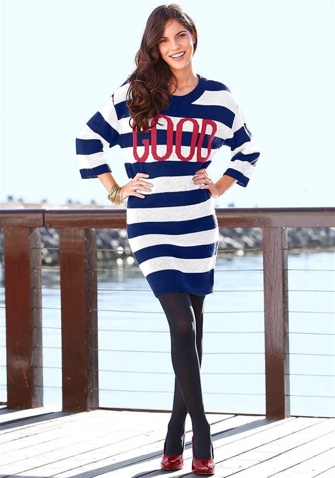 Woolen knit dress, ecru-navy-red