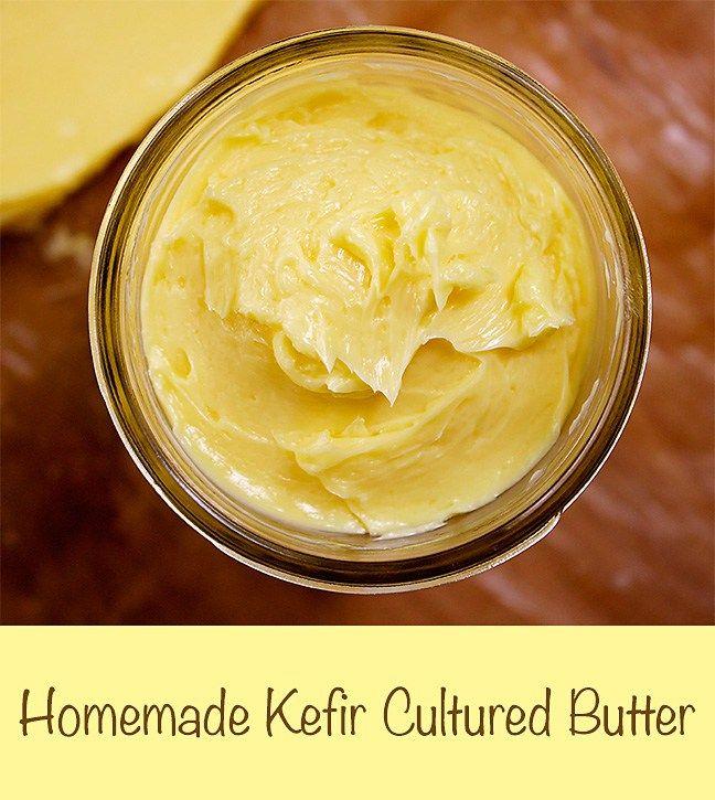 Easy instructions for homemade kefir cultured butter.