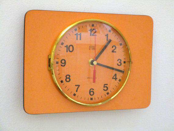 French 1950-60s Atomic Age ORANGE Wall Clock - Sleek Rectangular Shape - Good Working Condition