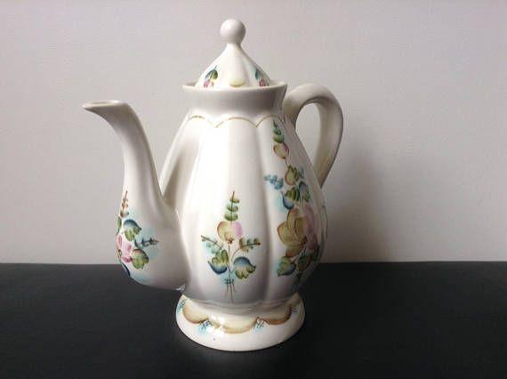 Vintage Stoneware Kettle Hand Painted Teapot Milk Pot Ivori Pitcher Flower Country Kitchen Decor Painted Teapot Country Kitchen Decor Coffee Decor Kitchen