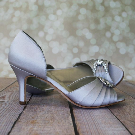 Silver Wedding Shoes / Gray Bridal Heels / by EllieWrenWeddingShoe