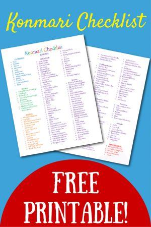 Lista de verificación para imprimir gratis Konmari!  Colorido y alegría produce chispas, espero que esto le ayudará en su viaje konmari!