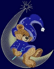 teddy bear moon wizard design. Machine embroidery design. www.embroideres.com