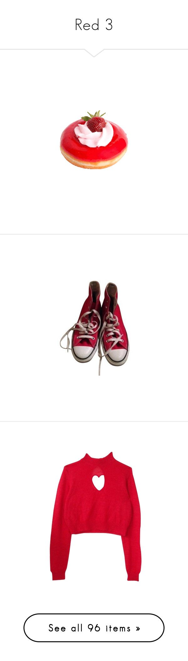 """Red 3"" by phonetheskeleton ❤ liked on Polyvore featuring shoes, sneakers, hi tops, red hi tops, red high-top sneakers, converse shoes, converse trainers, tops, sweaters and sweatshirts"