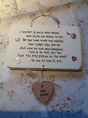 Shabby Wooden chic plaque. Personalised Anniversary Gift Present Husband. Wife
