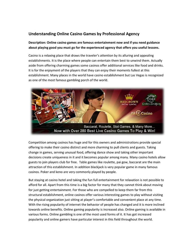 Understanding online casino games by professional agency