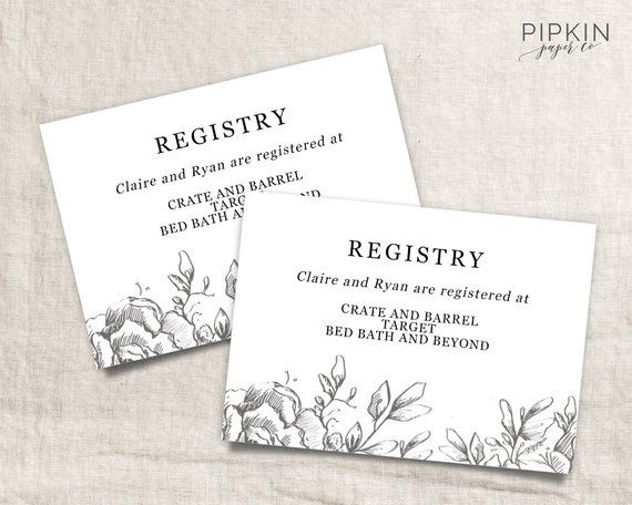 Wedding Registry Card Wedding Info Card Download