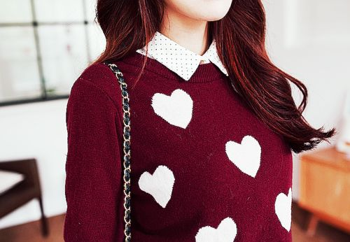 Heart cardigan and polka dot collar