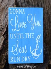 Beach Wedding Sign Decor Anchors Nautical Nursery Wood Plaque Hand Painted