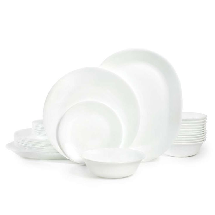 This straightforward and elegant dinner set offers service for 12 in durable pieces. In an all white motif, these plates and bowls will provide a tasteful setting for any occasion, special or casual. #LGLimitlessDesign #Contest