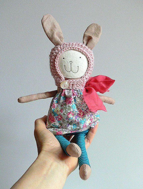 Stuffed Bunny Toy Heirloom Bunny Doll Vintage by MiniwerkaToys