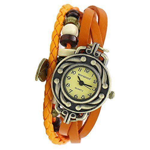 Damen Retro Baum Blatt Leder Armkette Armband Armbanduhr Uhren Uhr Watches Orange - http://kameras-kaufen.de/sanwood/damen-retro-baum-blatt-leder-armkette-armband-uhr