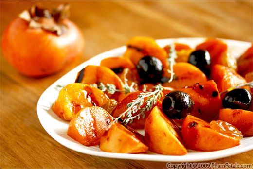 Fuyu persimmons are a nice substitute for Granny Smith apples in side dishes. I love caramelizing persimmons and pairing them with roasted duck breast. I don\
