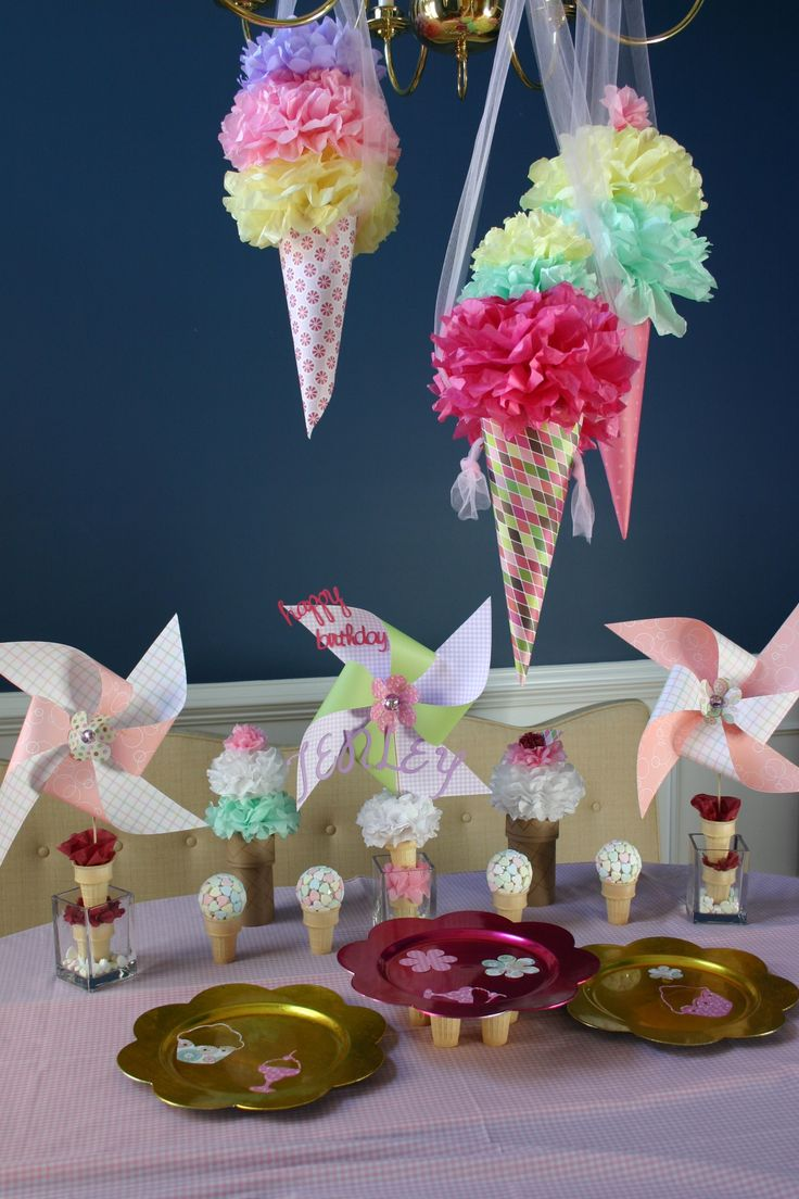 Ice cream party tablescape. Love the hanging ice creams.