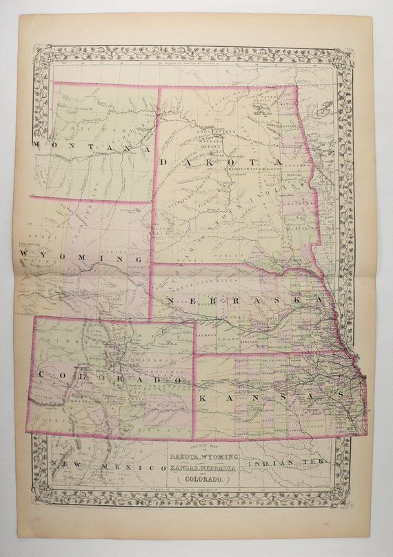 Antique US Map Colorado Dakota Map, Wyoming Neska Map Kansas ... on