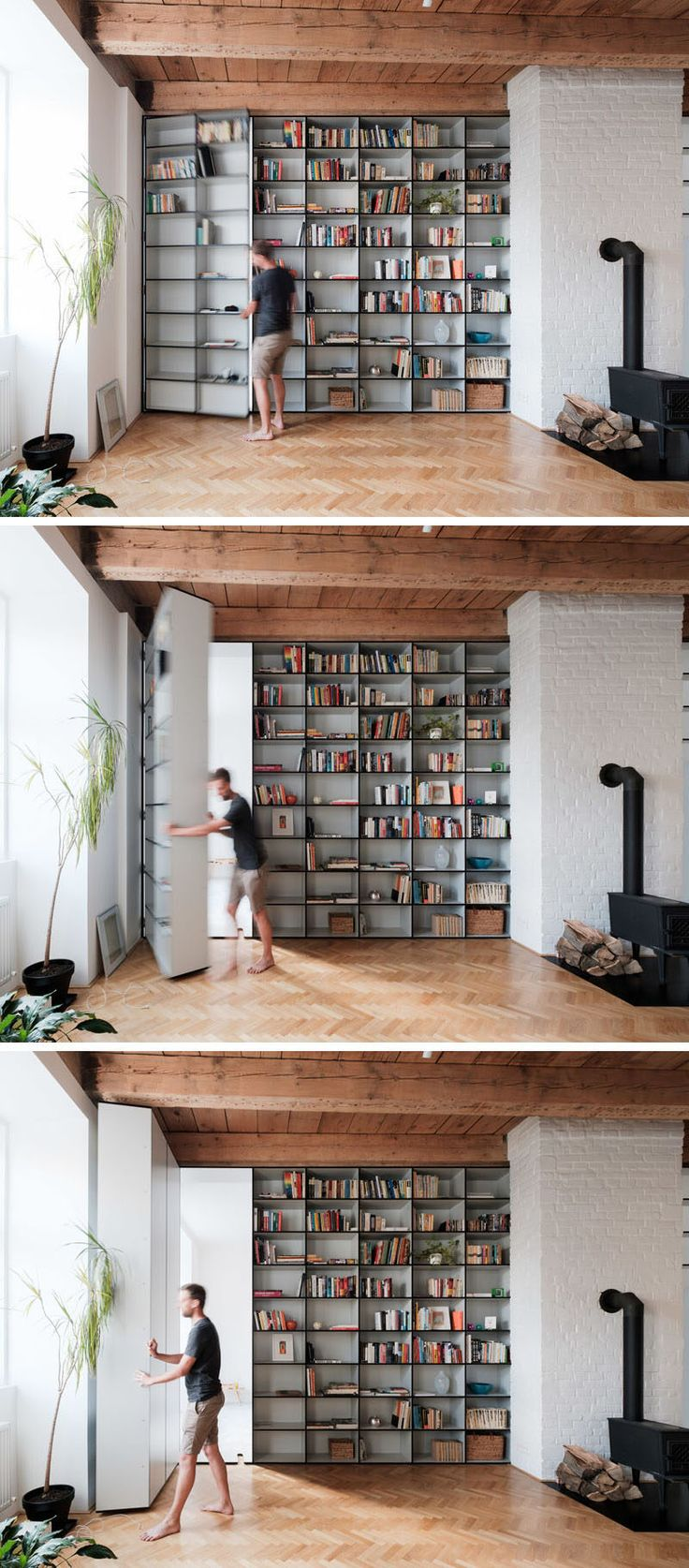 One of these floor-to-ceiling bookshelves is not like the rest. Instead it has a secret door that opens up to a hidden bedroom.