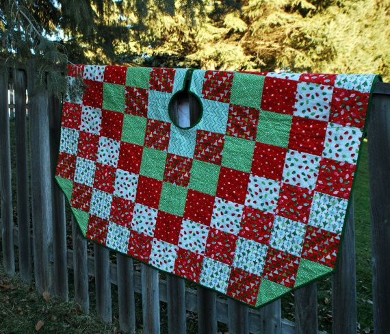 CIJ Extra Large Quilted Christmas Tree Skirt Around The World 66 Inch Diameter Quiltsy Handmade