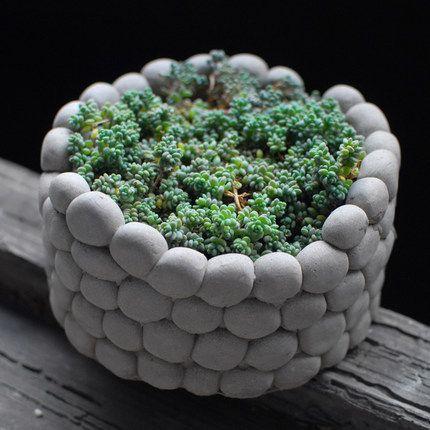 Aibei-creative piedra transpirable maceta paisaje ronda suculentas hidroponía cemento pequeñas macetas de jardín