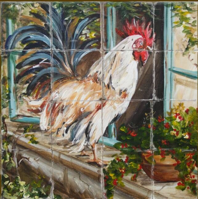 Rooster tile mural.