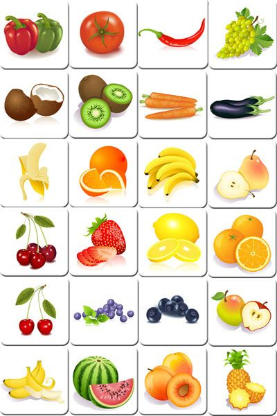Vocabulario frutas y verduras. Flash cards