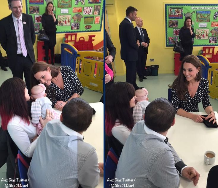 The Duchess of Cambridge visits the Brookhill Children's Centre. Wearing a faux wrap Asos dress and Stuart Weitzman pumps. | March 18, 2015