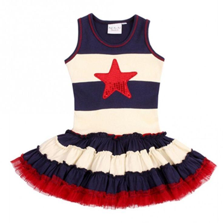 Ooh! La La! Couture Little Girls Navy White Red Stripe Star Patriotic Dress 4T