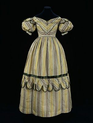 This 1830's romantic era gown is very close towhat I want as a wedding dress. if only the stripes were blue instead of yellow and green