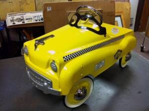 vintage burns nyc new york yellow taxi pedal car