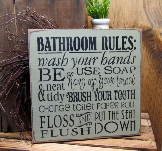 Bathroom Rules Sign, Bathroom Decor