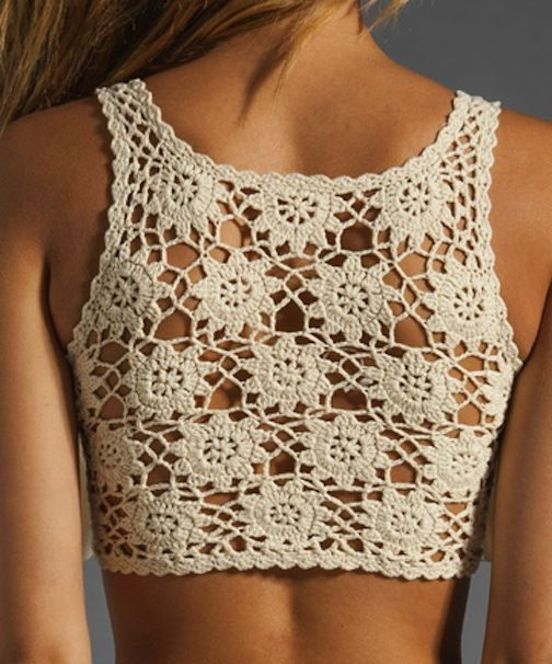 crochet tank top with motifs #diy #fashion