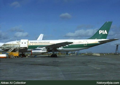 Pakistan International Airlines (PIA) brand new Airbus A300 with French registration F-WZEP for pre-delivery test flights photographed before delivery to the airline with Pakistani registration AP-BAX on March 3, 1980.  She was the very first Airbus aircraft operated by PIA.