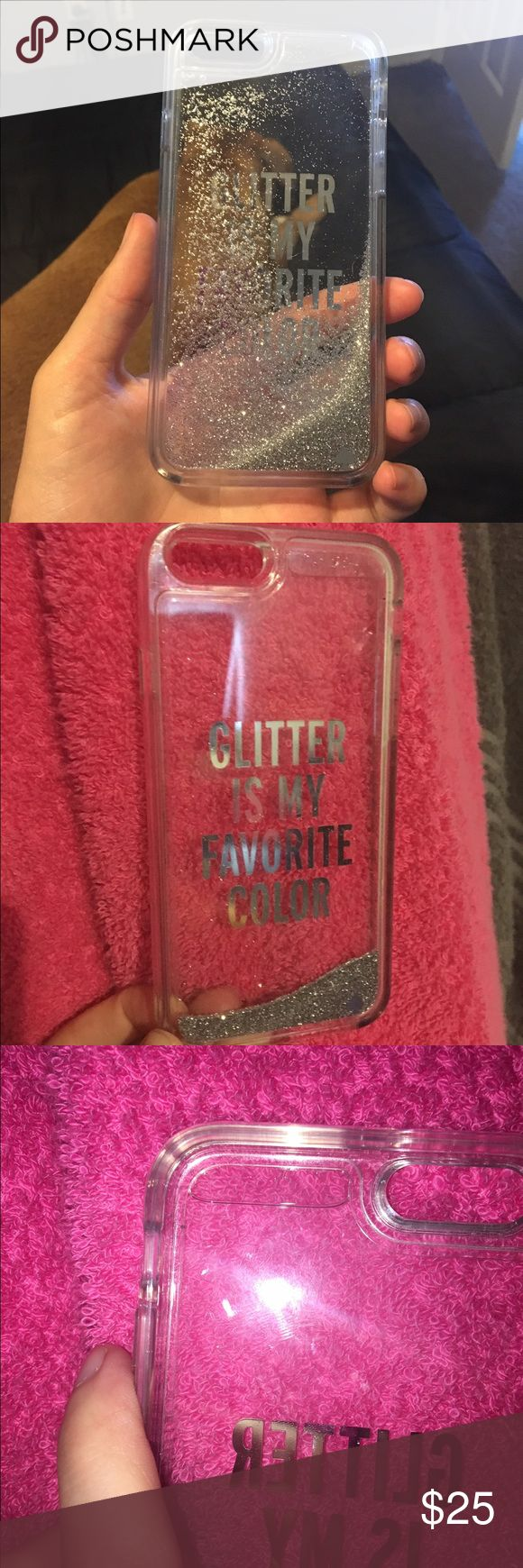 Kate spade glitter water iPhone 6/6s case Glitter is my favorite color - used for a week   There is a bubble at the top of the case. Still is super cute.  Price is firm so no offers on this please. Will only take asking price. Ⓜ️ - Hailey Howard kate spade Other