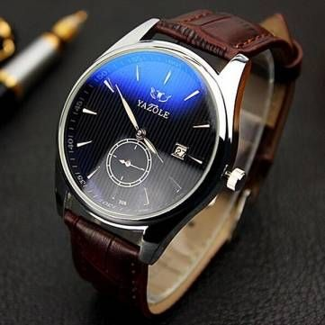 YAZOLE 306 Men Fashion Casual Luminous Hands Calendar Leather Quartz Watch at Banggood