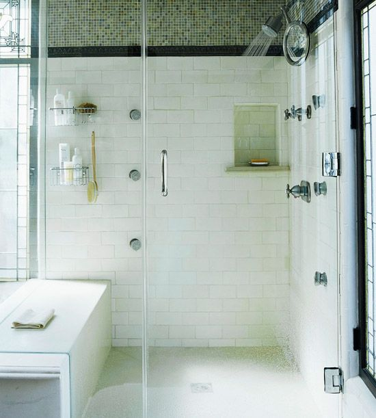Walk In Shower Ideas The White Wall Niches And Mosaics