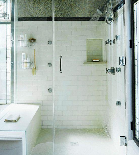 hello shower. // BHG.Bathroom Design, Shower Design, Shower Head, Subway Tile, Bathroom Remodeling, Bathroom Ideas, Big Shower, Bathroom Showers, Bathroom Shower Ideas
