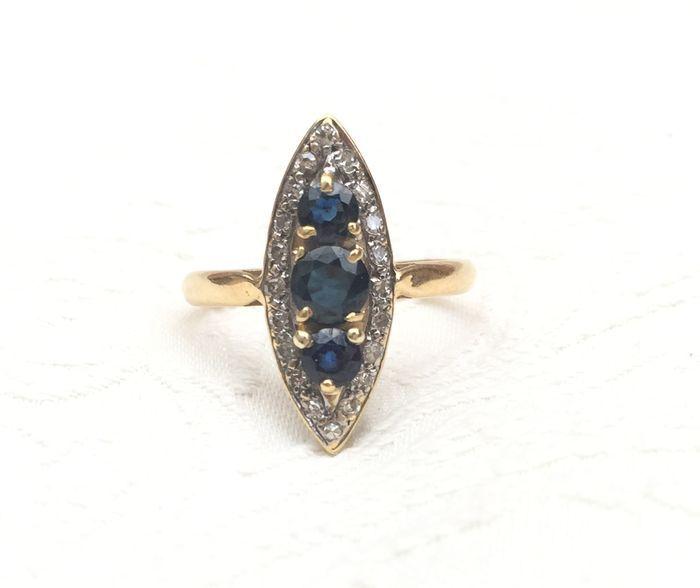Online veilinghuis Catawiki: Prachtige antiek ring van 18 kt goud, saffieren en diamanten, in totaal 1,45 ct.